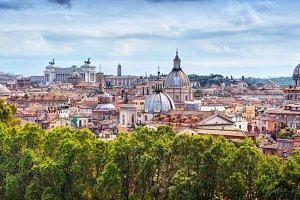 Panorama of Rome, Italy.