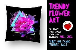 Trendy flower print. Adorable Peon.