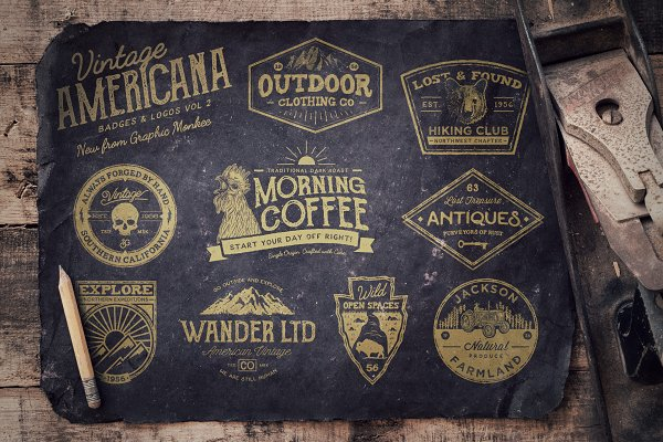 Vintage Americana Badges and Logos…