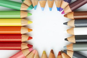 color pencils in arrange