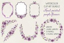 Watercolor clip art: purple flowers