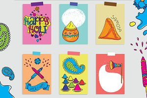 Cards for Holi festival.