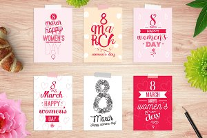 8 march cards set. Happy women's day