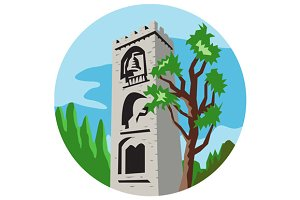 Medieval Bell Tower Circle Retro