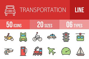 50 Transportation Line Filled Icons
