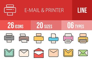 26 Email & Printer Line Filled Icons