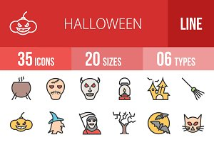 35 Halloween Line Filled Icons