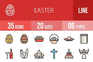 35 Easter Line Filled Icons