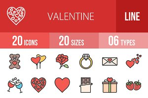 20 Valentine Line Filled Icons
