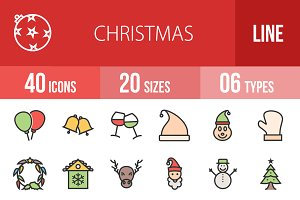 40 Christmas Line Filled Icons
