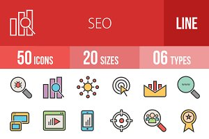 50 SEO Line Filled Icons