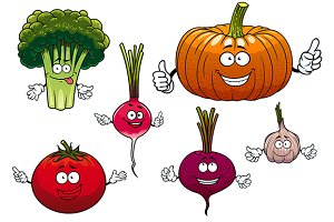 Isolated funny vegetable characters