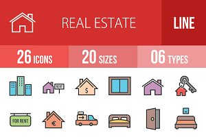 26 Real Estate Line Filled Icons