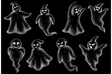 Hand-drawn flying Halloween ghosts
