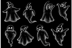 Hand-drawn flying Halloween ghosts