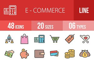 48 Ecommerce Line Filled Icons