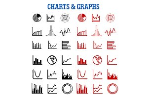 Black and red charts or graphs icons