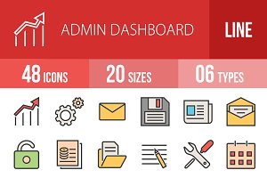 48 Admin Dashboard Line Filled Icons