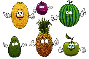 Juicy ripe cartoon fruit characters