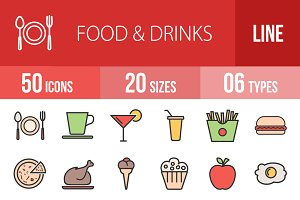 50 Food & Drinks Line Filled Icons