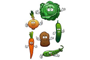 Fresh cartoon vegetables