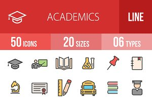 50 Academics Line Filled Icons