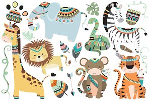 Tribal Jungle Animals Vector & PNG
