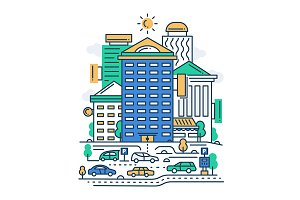 Office Buildings Illustration