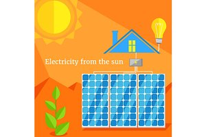 Electricity From Sun Design Flat
