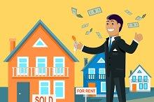Real Estate Broker Design Flat