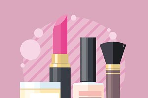 Cosmetic Set Flat Design Object