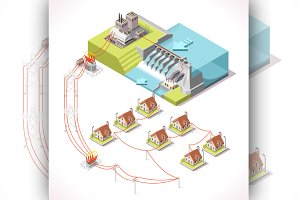 Energy Hydroelectric Power Isometric