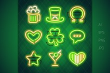 St. Patrick's Day Neon Signs Set