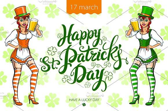 St. Patrick's Day. Irish Girl beer - Graphics