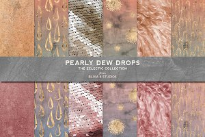 Pearly Dew Drops Watercolor & Gold