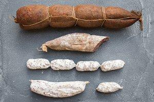 Italian salami sausages