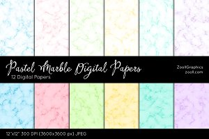 Pastel Marble Digital Papers