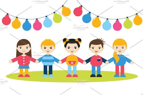 Children holding hands. Birthday. - Illustrations