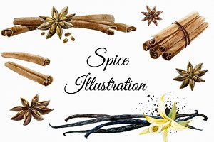 Spices Watercolor Set