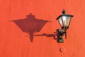 Old wall lantern with shadow