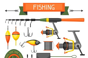Set of fishing supplies.
