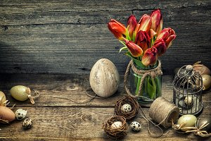 Easter decoration with red flowers