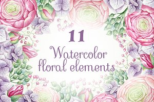 Watercolor hand painted clipart