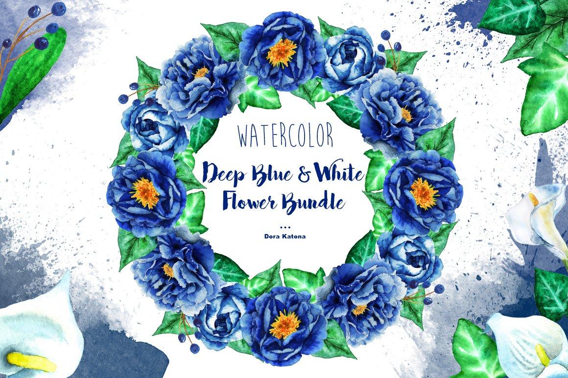 Deep Blue White Flower Bundle Illustrations Creative Market