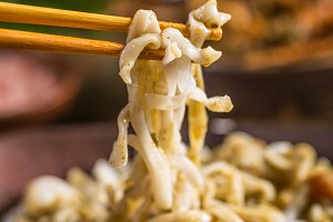 Close up of thai noodles