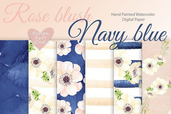 Watercolor Rose Blush - Navy Blue