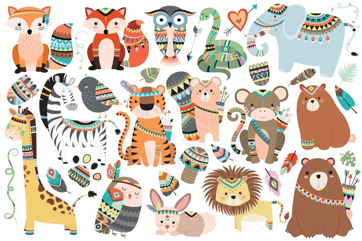 Tribal Animals 35 Pc Clipart Set Illustrations