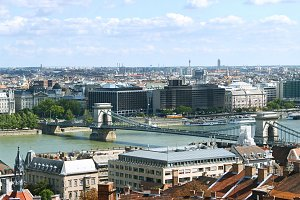 Budapest cityscape in sunny day