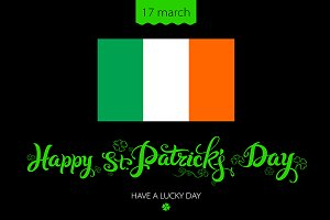St Patricks Day lettering flag Irish