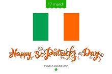 St Patricks Day lettering flag Irish